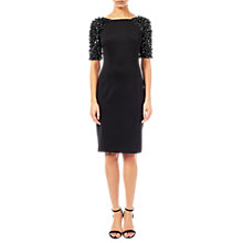 Buy Adrianna Papell Beaded Sleeve Short Dress, Black Online at johnlewis.com