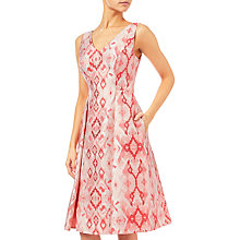 Buy Adrianna Papell Aztec Jacquard Tea Length Dress, Red/Multi Online at johnlewis.com
