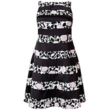 Buy Adrianna Papell Boat Neck Fit And Flare Dress, Pink/Black Online at johnlewis.com