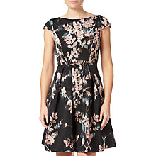 Buy Adrianna Papell Floral Print Fit And Flare Dress, Black/Multi Online at johnlewis.com
