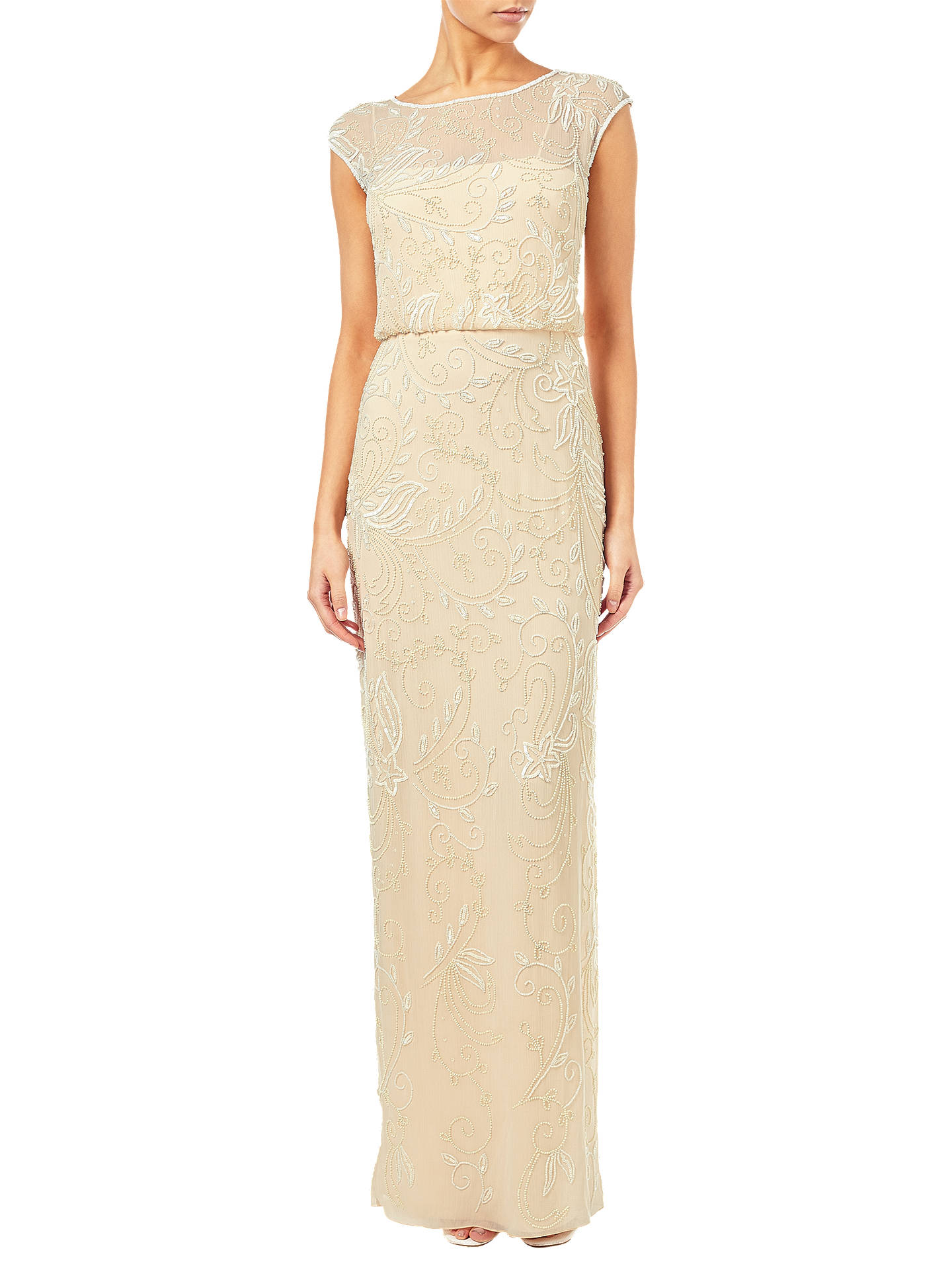 Adrianna Papell Cap Sleeve Beaded Gown, Champagne at John Lewis ...