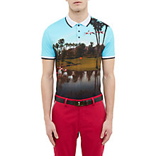 Buy Ted Baker Golf Dormie Palm Springs Print Polo Shirt, Bright Blue Online at johnlewis.com