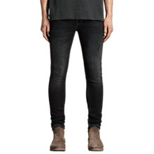 Buy AllSaints Baden Cigarette Skinny Jeans, Jet Black Online at johnlewis.com