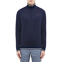 Buy Ted Baker Golf Par Half-Zip Jersey Jumper, Navy Online at johnlewis.com