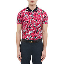 Buy Ted Baker Golf Legolf Leaf Print Polo Shirt, Pink Online at johnlewis.com