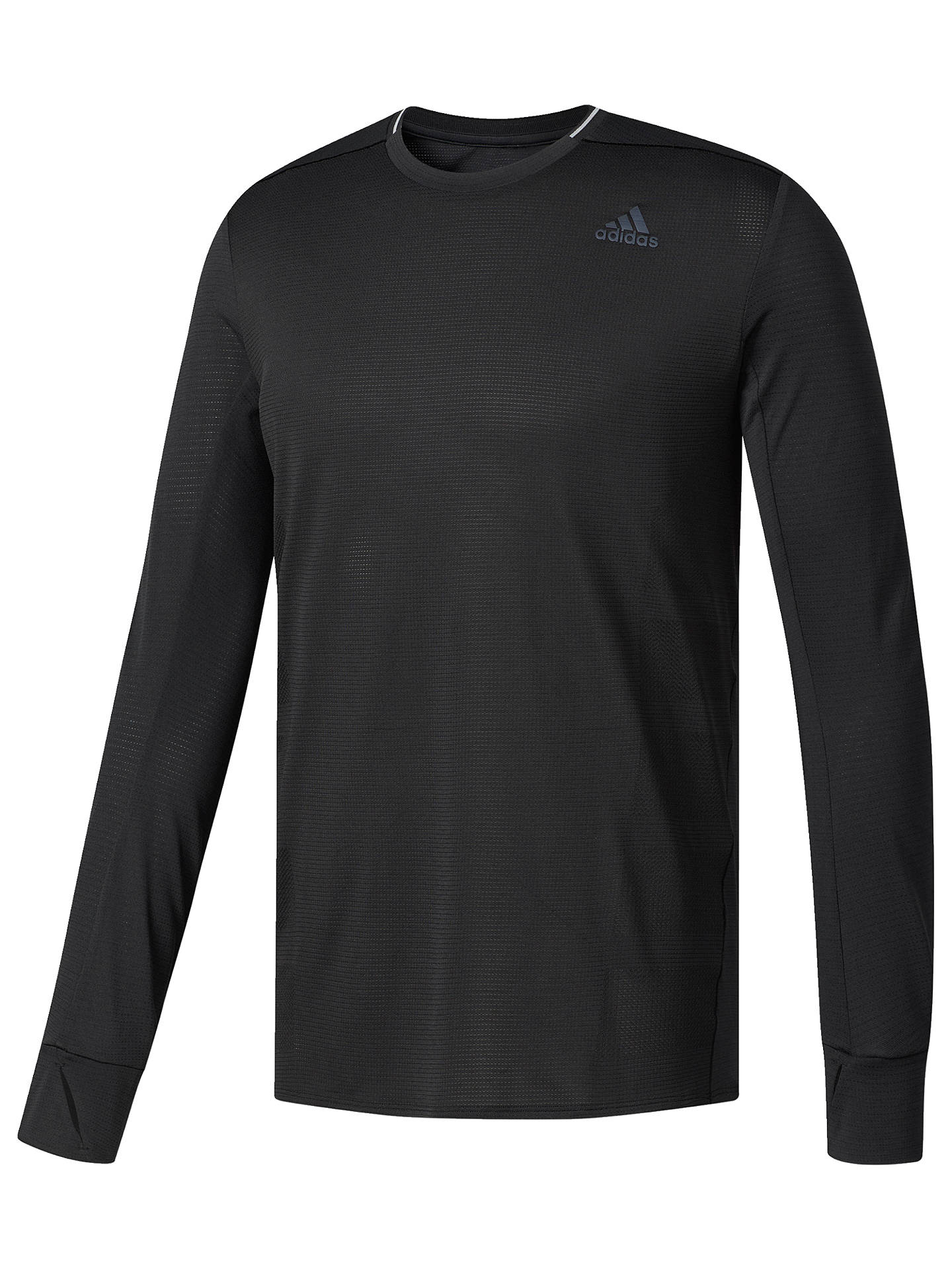 296083b0 adidas Supernova Long Sleeve Running T-Shirt, Black at John Lewis ...