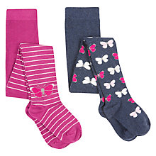Buy John Lewis Girls' Butterfly Tights, Pack of 2, Navy/Pink Online at johnlewis.com