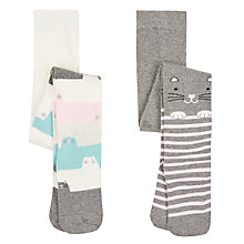 Buy John Lewis Girls' Cat Tights, Pack of 2, Grey Online at johnlewis.com