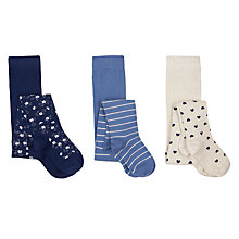 Buy John Lewis Girls' Pattern Tights, Pack of 3, Blue Online at johnlewis.com