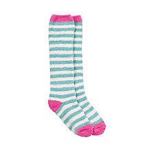 Buy John Lewis Girls' Spot Fluffy Welly Socks, Green Online at johnlewis.com