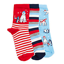 Buy John Lewis Children's Christmas Polar Bear Socks, Pack of 3, Red/Blue Online at johnlewis.com