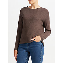 Buy John Lewis High Crew Ribbed Sweater, Brown Online at johnlewis.com