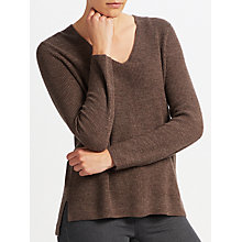 Buy John Lewis Rib Stitch V-Neck Tunic, Brown Online at johnlewis.com