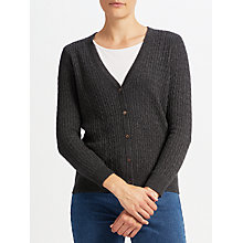 Buy John Lewis Cable Stitch Cardigan, Charcoal Online at johnlewis.com