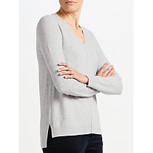 Buy John Lewis V Neck Tunic Jumper, Grey Donegal Online at johnlewis.com