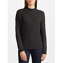 Buy John Lewis Cable Stitch Turtle Neck Jumper, Charcoal Online at johnlewis.com
