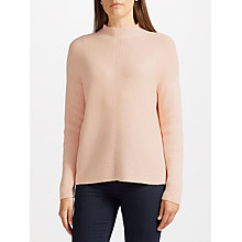 Buy John Lewis Purl Stitch Turtle Neck Jumper, Blush Melange Online at johnlewis.com