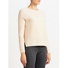 Buy John Lewis Purl Stitch High Crew Sweater, Blush Melange Online at johnlewis.com