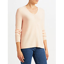 Buy John Lewis Purl Stitch V-Neck Jumper, Blush Melange Online at johnlewis.com