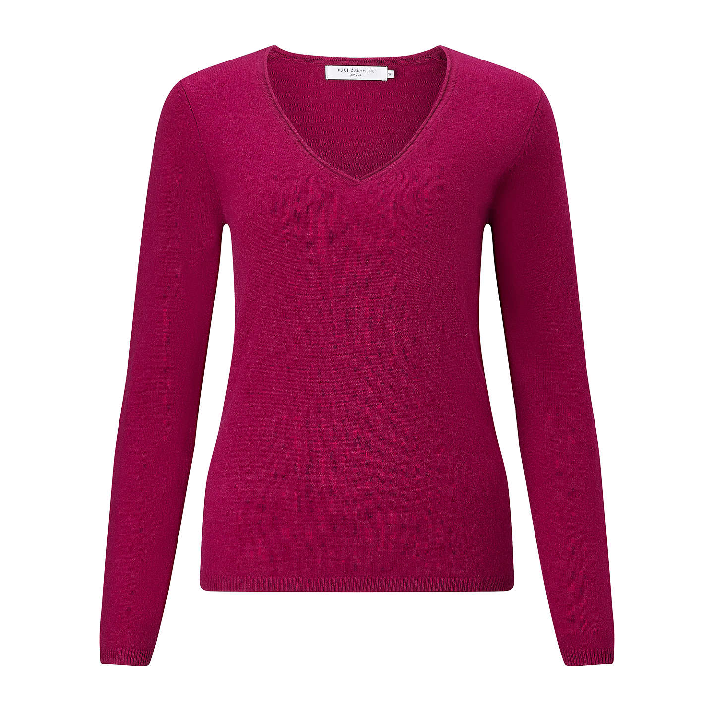 BuyJohn Lewis Cashmere V-Neck Jumper, Berry, 8 Online at johnlewis.com