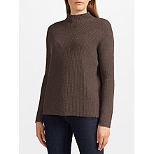 Buy John Lewis Rib Stitch Turtle Neck Jumper, Brown Online at johnlewis.com
