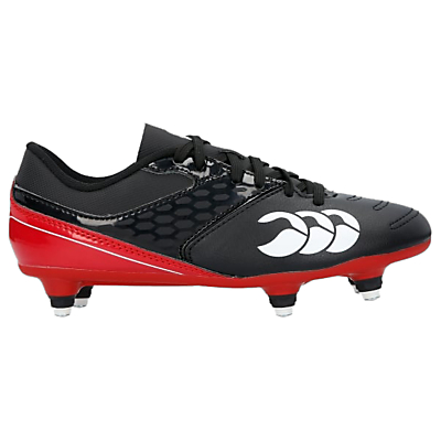 Image of Canterbury of New Zealand Children's Phoenix Raze Club 6 Stud Rugby Boots, Black/Red