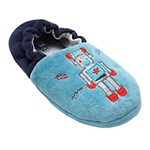 Buy John Lewis Children's Robot Closed Back Slippers, Turquoise Online at johnlewis.com