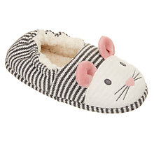 Buy John Lewis Children's Mouse Closed Back Slippers, Grey/Cream Online at johnlewis.com