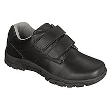Buy John Lewis Children's Surrey Double Rip-Tape Shoes, Black Online at johnlewis.com