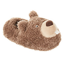 Buy John Lewis Children's Beaver Closed Back Slippers, Brown Online at johnlewis.com