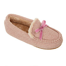 Buy John Lewis Children's Sheepskin Moccasin Slippers, Pink Online at johnlewis.com