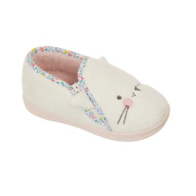 John Lewis Baby Cat Slippers, White