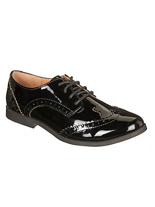 John Lewis & Partners Children's Dorset Leather Brogue Shoes, Black Patent