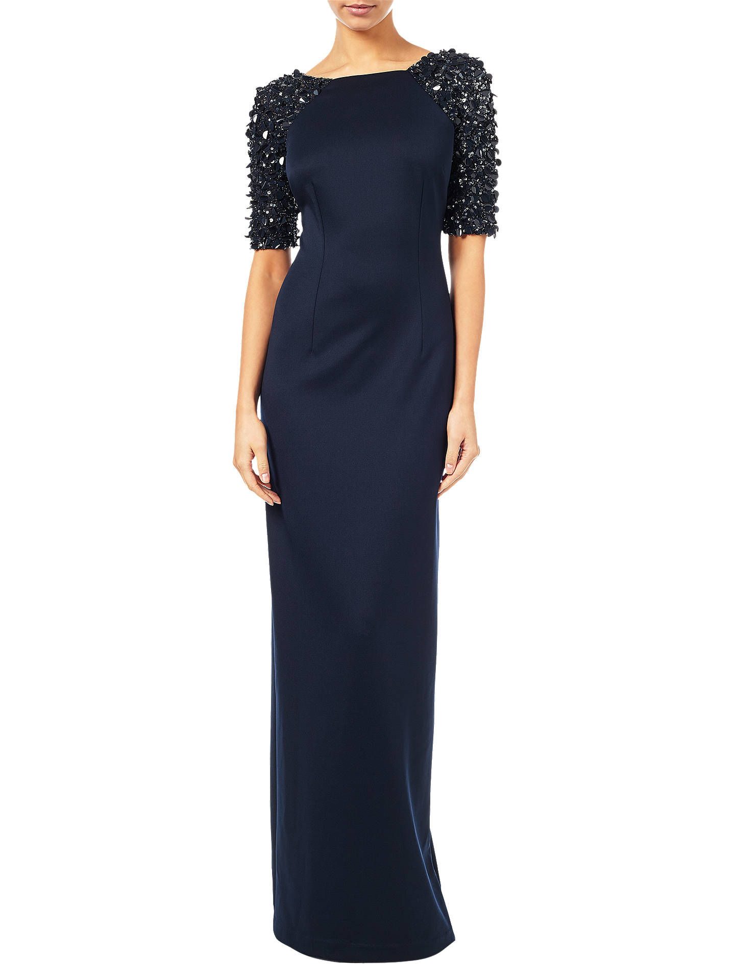 Adrianna Papell Stretch Knit Column Gown, Navy at John Lewis & Partners