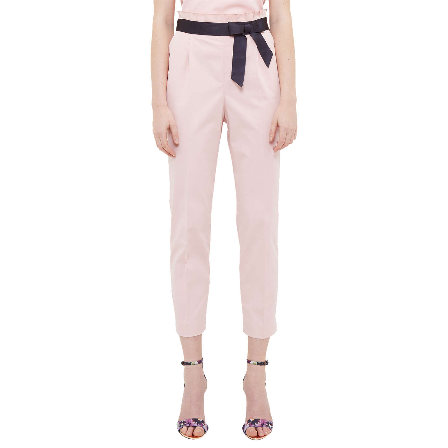 BuyTed Baker Verbo Ruffle Waistline Cotton Blend Trousers, Dusky Pink, 2 Online at johnlewis.com