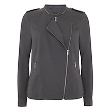 Buy Mint Velvet Soft Biker Jacket, Grey Online at johnlewis.com