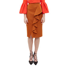 Buy Ted Baker Selver Ruffle Detail Cotton Blend Pencil Skirt, Cinnamon Online at johnlewis.com