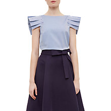 Buy Ted Baker Amella Stripe Frill Drop Shoulder Top, Navy Online at johnlewis.com