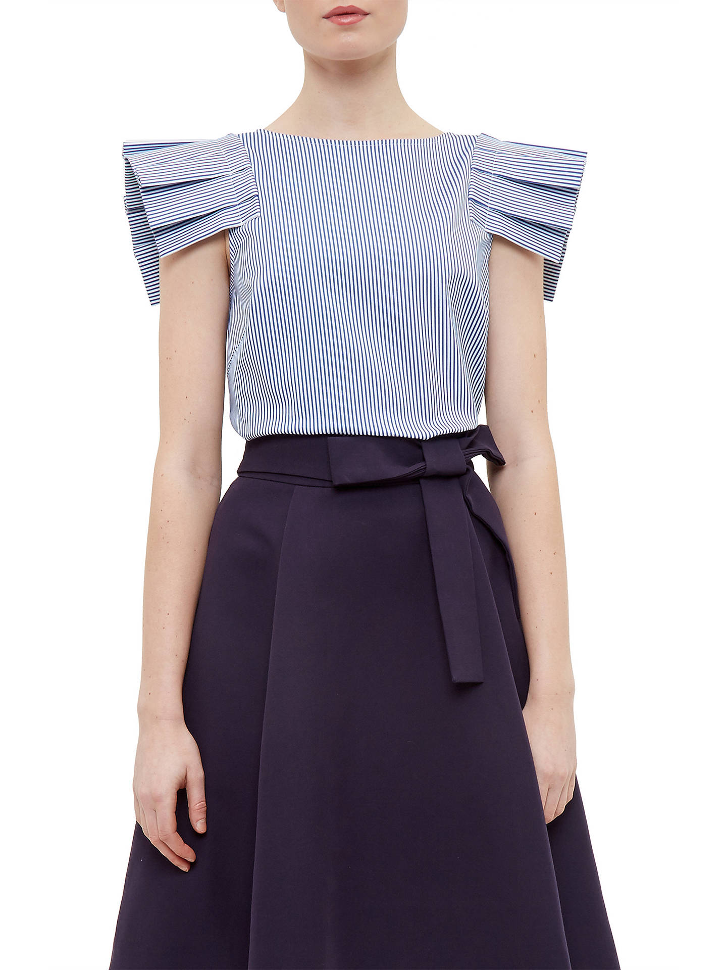 c55f543f5 Buy Ted Baker Amella Stripe Frill Drop Shoulder Top, Navy, 0 Online at  johnlewis ...