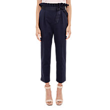 Buy Ted Baker Verbo Ruffle Waistline Cotton Blend Trousers, Navy Online at johnlewis.com