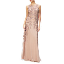 Buy Adrianna Papell Plus Size Beaded Gown With Intricate Embroidery, Rose Gold Online at johnlewis.com