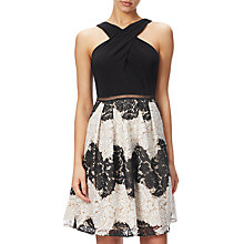 Buy Adrianna Papell Petite Striped Lace Fit And Flare Dress, Black/Ivory Online at johnlewis.com