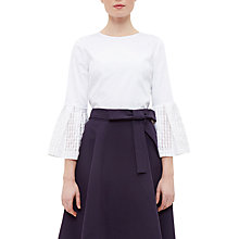 Buy Ted Baker Gailee Gingham Bell Sleeve Top, White Online at johnlewis.com