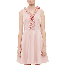 Buy Ted Baker Emalia Ruffled V-Neck Skater Dress, Dusky Pink Online at johnlewis.com