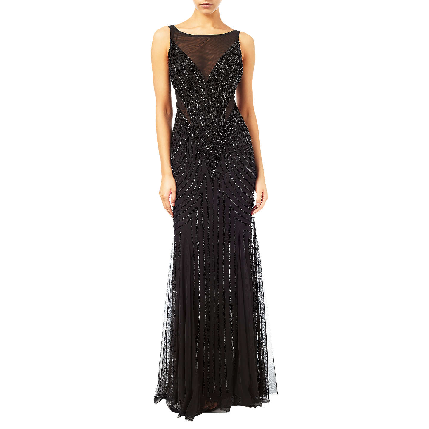 Adrianna Papell Sleeveless Beaded Mermaid Gown, Black at John Lewis