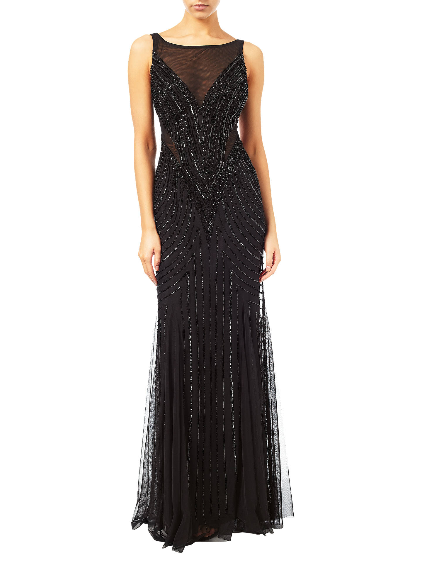 Adrianna Papell Sleeveless Beaded Mermaid Gown, Black at John Lewis ...