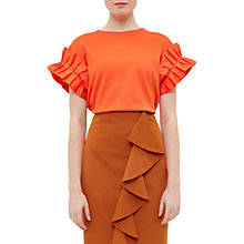 Buy Ted Baker Piaplay Crew Neck Ruffle Cotton-Blend Top, Burnt Orange Online at johnlewis.com