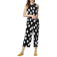 Buy Warehouse Flower Stamp Plisse Jumpsuit, Multi/Floral Online at johnlewis.com