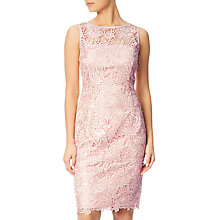 Buy Adrianna Papell Sequin Guipure Lace Sheath Dress, Blush Online at johnlewis.com
