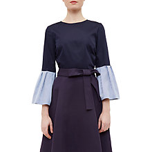 Buy Ted Baker Jesieh Stripe Frilled Bell Sleeve Blouse, Navy Online at johnlewis.com